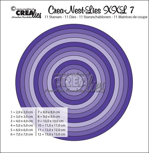 Crea-Nest-Lies XXL stansen no. 7, Gladde cirkels, hele cm