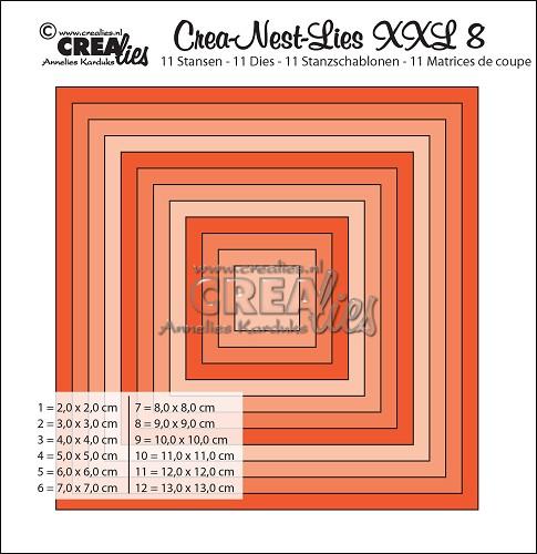 Crea-Nest-Lies XXL stansen no. 8, Gladde vierkanten, hele cm
