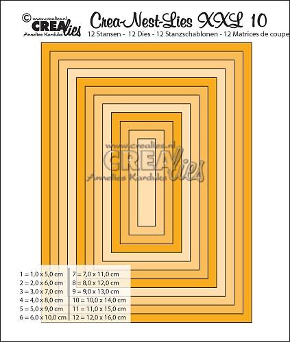 Crea-Nest-Lies XXL stansen no. 10, Gladde rechthoeken, hele cm
