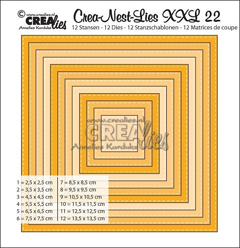 Crea-Nest-Lies XXL dies no. 22, Squares with stitchline