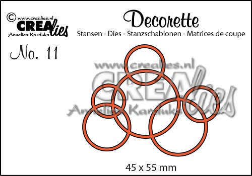 Decorette stans/die no. 11, In elkaar grijpende cirkels / Interlocking circles