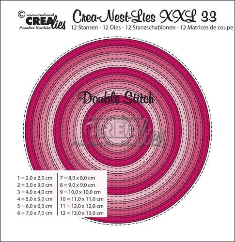Crea-Nest-Lies XXL stansen no. 33, Cirkels met dubbele stiksteeklijn