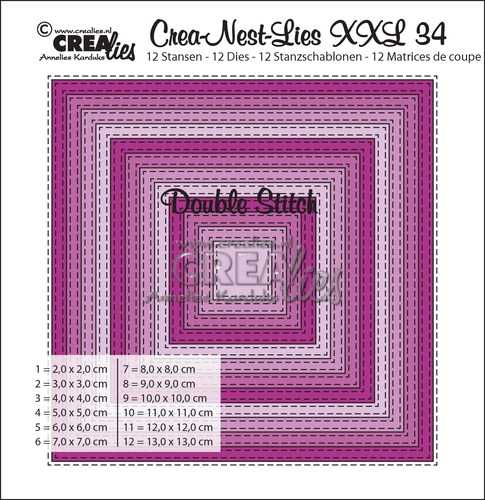 Crea-Nest-Lies XXL stansen no. 34, Vierkant met dubbele stiklijn