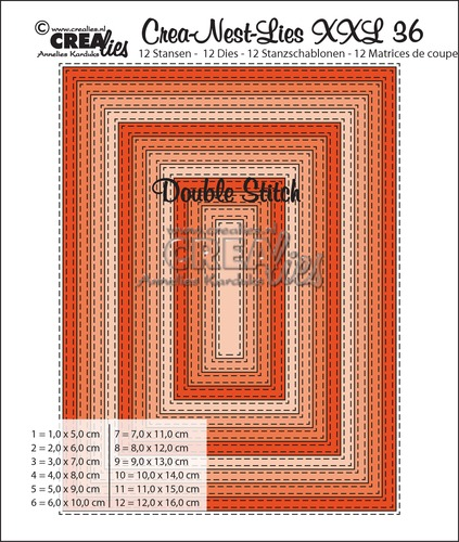Crea-Nest-Lies XXL stansen no. 36, Rechthoek met dubbele stiklijn