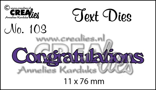 Text Die no. 103 Congratulations
