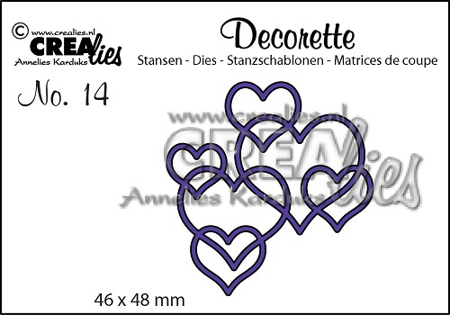 Decorette stans/die no. 14, In elkaar grijpende harten / Interlocking hearts