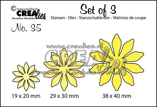 Set of 3 stansen no. 35, Bloemen 17
