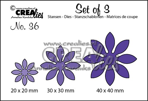 Set of 3 stansen/dies no. 36, Bloemen 18 / Flowers 18
