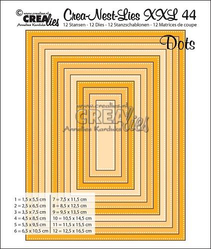 Crea-Nest-Lies XXL stansen no. 44, Rechthoeken met stippen