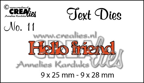 Text Die no. 11 Hello friend