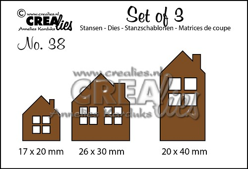 Set of 3 stansen/dies no. 38, Huisjes / Houses