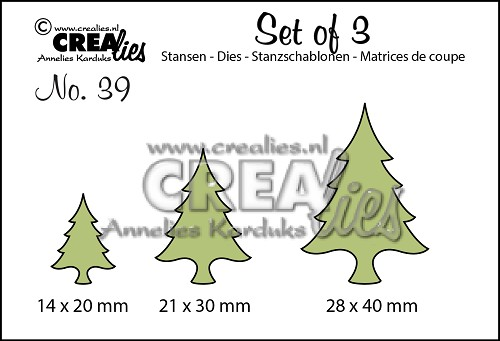 Set of 3 stansen/dies no. 39, Kerstbomen dun / Christmas trees thin