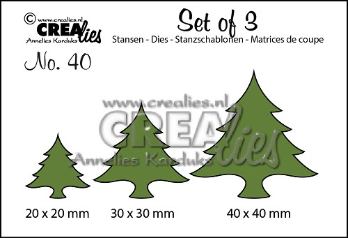 Set of 3 stansen/dies no. 40, Kerstbomen dik / Christmas trees wide