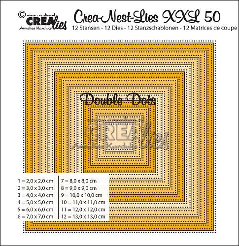 Crea-Nest-Lies XXL stansen no. 50, Vierkanten met dubbele stippen