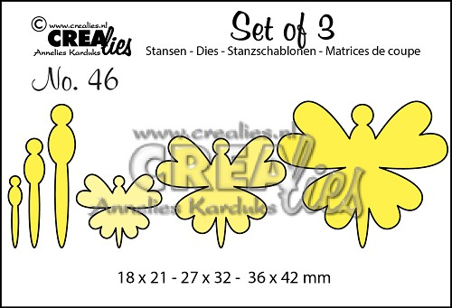 Set of 3 dies no. 46, Butterflies 8