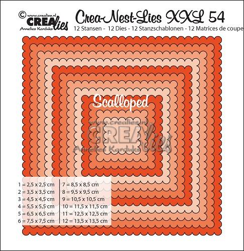 Crea-Nest-Lies XXL stansen no. 54, Vierkanten met schulprand