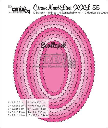 Crea-Nest-Lies XXL stansen no. 55, Ovalen met schulprand