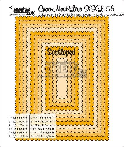 Crea-Nest-Lies XXL stansen no. 56, Rechthoeken met schulprand