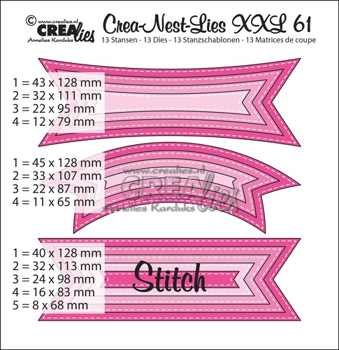 Crea-Nest-Lies XXL stansen/dies no. 61 Tags with stitch lines
