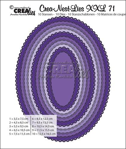 Crea-Nest-Lies XXL stansen no. 71, Ovalen met open schulprand