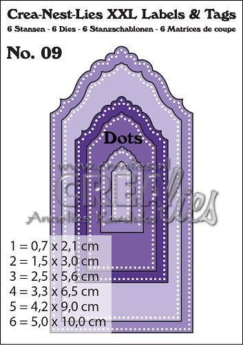 Crea-Nest-Lies XXL Labels & Tags dies no. 9, With dots