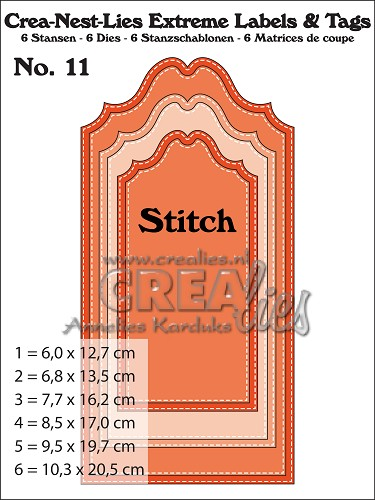 Crea-Nest-Lies Extreme Labels & Tags dies no. 11, With stitch line