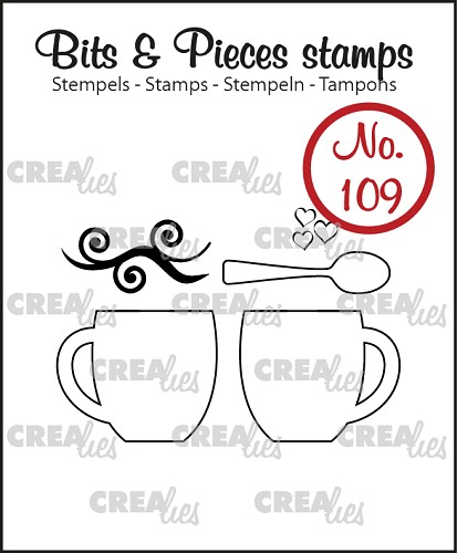 Bits & Pieces stamp no. 109, 2 mugs + spoon