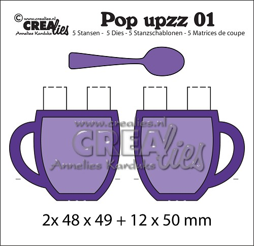 Pop upzz stansen no.1, 2x pop-up mok + lepel