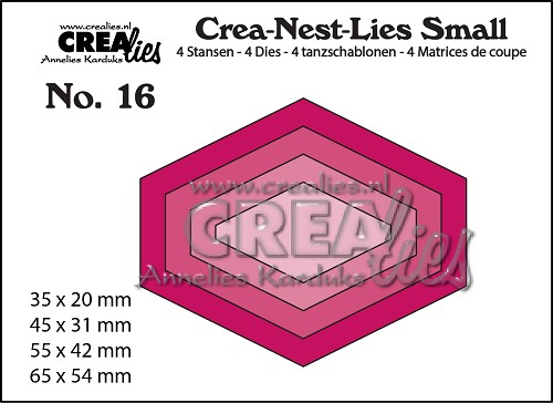 Crea-Nest-Lies Small stansen no. 16, 4x platte zeshoek