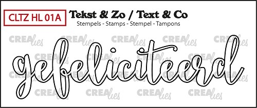 Text & Co stamp, Handlettering no 1A, Gefeliciteerd omlijning