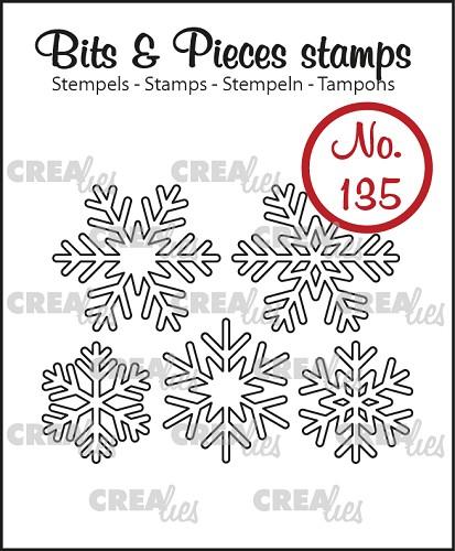 Bits & Pieces stempel no. 135, 5x Sneeuwvlok omlijning