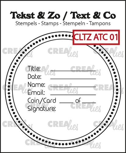 Text & Co stamps, text for ATC or AT Coin no. 1
