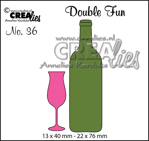 Double Fun stansen no.36, Champagneglas+wijnfles klein