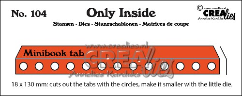 Only Inside die no. 104, Mini book holes with tab