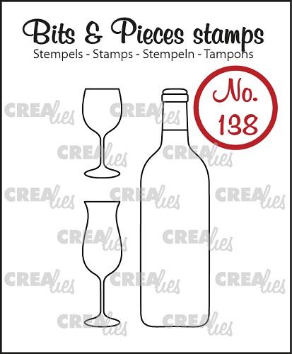Bits & Pieces stempel/stamp no. 138, Wijnfles en glazen/Bottle of wine and glasses