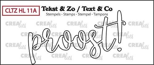 Tekst & Zo stempel, Handlettering no. 11A, Proost! (omlijning)