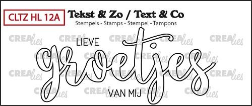 Tekst & Zo stempel, Handlettering no. 12A, Groetjes (omlijning)