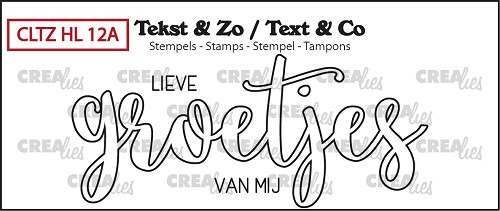 Text & Co stamp, Handlettering no. 12A, Groetjes (outline)