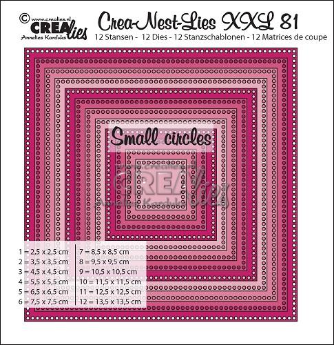 Crea-Nest-Lies XXL stansen no. 81, Vierkanten met kleine gaatjes