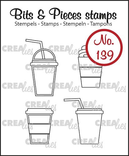 Bits & Pieces stempel/stamp no. 139, 4x Mok om mee te nemen / 4x Mug to go