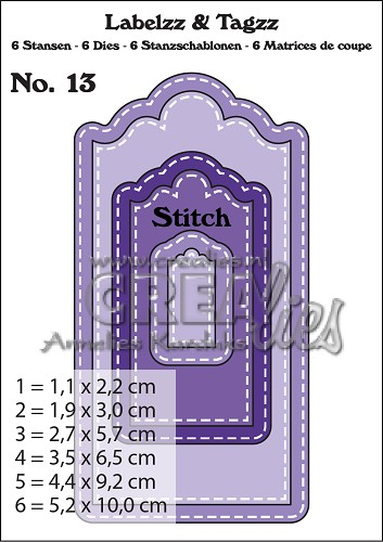 Labelzz & Tagzz dies no. 13, With stitch line