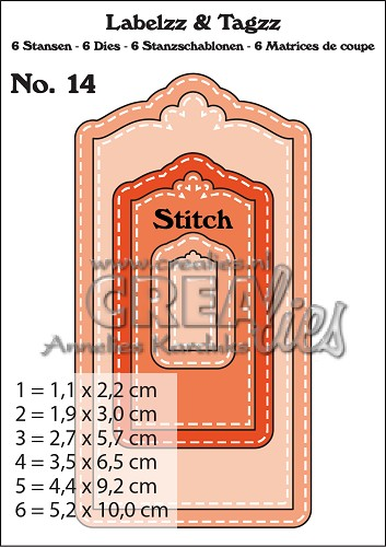Labelzz & Tagzz dies no. 14, With stitch line