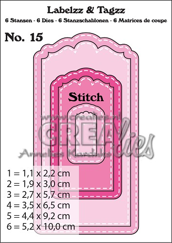 Labelzz & Tagzz dies no. 15, With stitch line