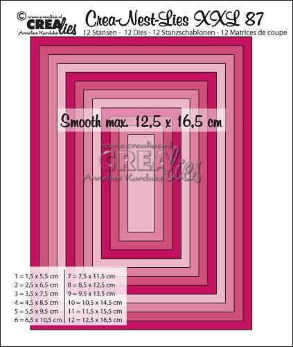 Crea-Nest-Lies XXL stansen no. 87, Gladde rechthoeken halve cm