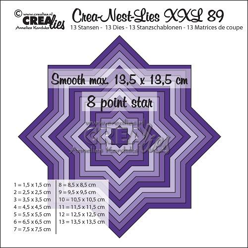 Crea-Nest-Lies XXL stansen no. 89, Gladde 8 puntige ster