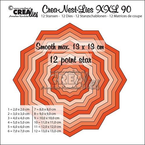 Crea-Nest-Lies XXL stansen no. 90, Gladde 12 puntige ster