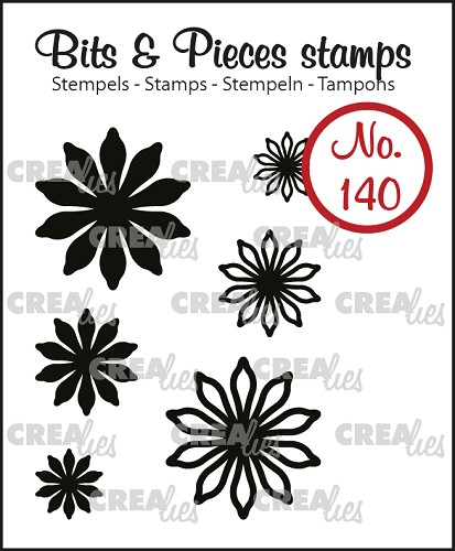 Bits & Pieces stempel no. 140, 6x Mini bloemen 17