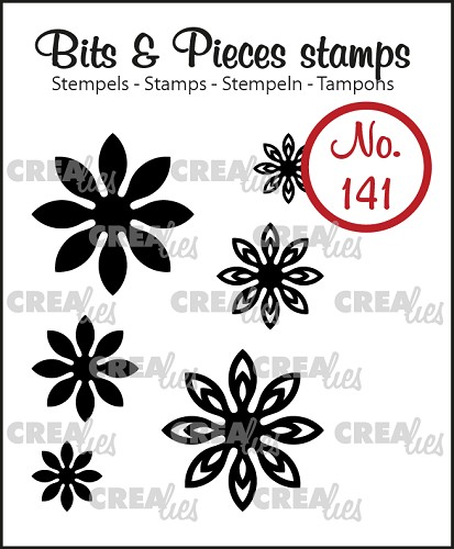 Bits & Pieces stempel/stamp no. 141, 6x Mini bloemen 18 / 6x Mini Flowers 18