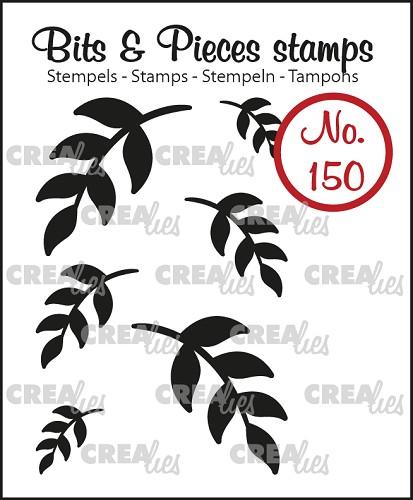 Bits & Pieces stempel/stamp no. 150, 6x Mini blaadjes 5 (dicht) / 6x Mini Leaves 5 (solid)