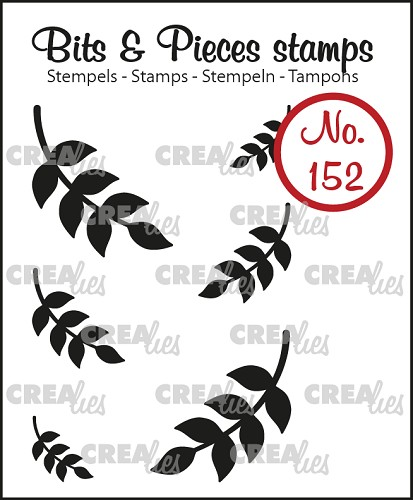 Bits & Pieces stempel no. 152, 6x Mini blaadjes 8 (dicht)
